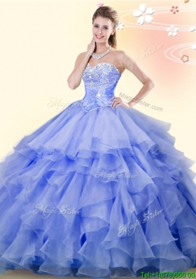 Modest Lavender Organza Quinceanera Dress with Beading and Ruffles
