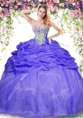 Popular Big Puffy Lavender Quinceanera Dress with Beading and Pick Ups