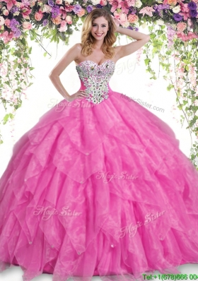 Popular Hot Pink Big Puffy Quinceanera Dress with Beading and Ruffles