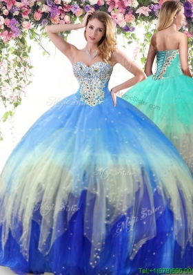 Romantic Beaded Lace Up Really Puffy Quinceanera Dress in Rainbow