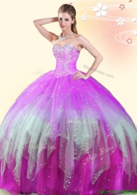 Unique Beaded Multi Color Really Puffy Quinceanera Dress in Tulle