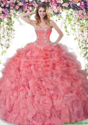 Unique Coral Red Quinceanera Dress with Beading and Ruffles for Summer