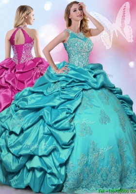 Unique Halter Top Turquoise Quinceanera Dress with Beading and Pick Ups