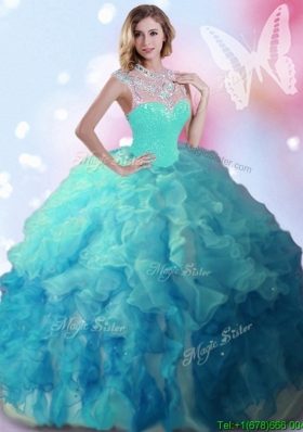 Classical High Neck Beaded and Ruffled Quinceanera Dress in Turquoise and Teal