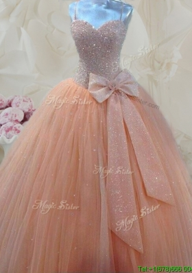 Cheap Spaghetti Straps Beaded and Bowknot Quinceanera Gown in Peach