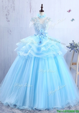 Discount V Neck Applique and Ruffled Quinceanera Gown in Light Blue
