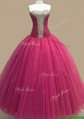 Elegant Beaded Sweetheart Fuchsia Quinceanera Gown in Tulle