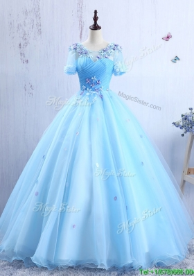 Latest Short Sleeves Scoop Quinceanera Gown with Appliques and Ruching