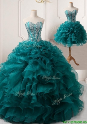 Pretty Puffy Skirt Teal Detachable Quinceanera Gown with Beading and Ruffles