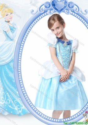 Cheap Scoop Knee-length White and Blue Halloween Little Girl Pageant Dress with Beading and Bubbles