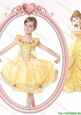 Elegant Ball Gown Scoop Button Halloween Little Girl Pageant Dress with Beading and Handcraft