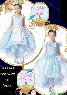 Fashionable Light Blue Bowknot Detachable Sleeves Halloween Little Girl Pageant Dress with Scoop