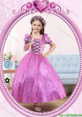 Halloween Ball Gown Scoop Ankle-length Short Sleeves Little Girl Pageant Dress with Beading