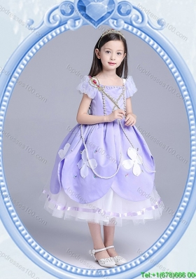 Halloween Beautiful Ball Gown Applique and Beaded Little Girl Pageant Dress in Lavender