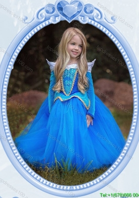 Halloween Lovely Baby Blue Little Girl Pageant Dress with Embroidery and Beading
