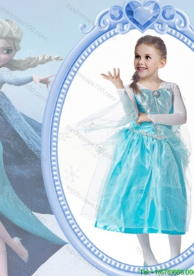 Pretty Princess V-neck Tea-length Long Sleeves Halloween Little Girl Pageant Dress with Beading