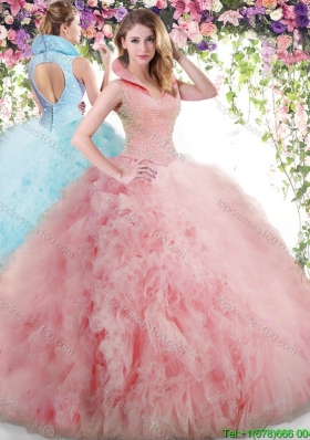 66eac149c1 Modest High Neck Watermelon Red Quinceanera Dress with Beading and Ruffles