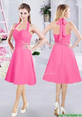 2017 New Style Halter Top Hot Pink Short Dama Dress with Ruching