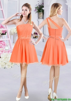 Exclusive Ruched One Shoulder Orange Short Dama Dress in Chiffon