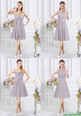 Wonderful Ruched Chiffon Grey Dama Dress in Knee Length