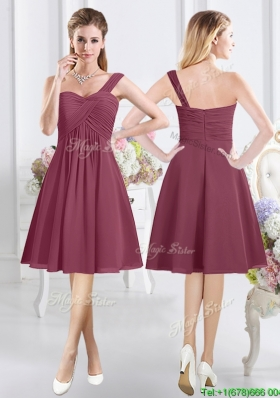 2017 Fashionable Chiffon One Shoulder Zipper Up Dama Dress in Burgundy