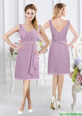 2017 Popular V Neck Knee Length Lavender Dama Dress with Ruching