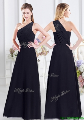 2017 Pretty One Shoulder Side Zipper Navy Blue Dama Dress in Chiffon