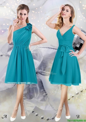 High End Chiffon Teal Knee Length Dama Dress with Ruching