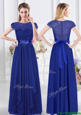 Modern Lace Bodice and Belted Royal Blue Dama Dress with Short Sleeves