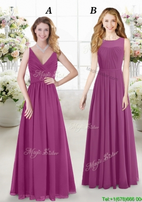 New Style Empire Fuchsia Chiffon Dama Dress in Floor Length
