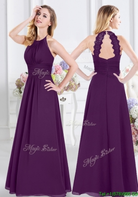 Perfect Halter Top Purple Long Dama Dress with Ruching and Lace