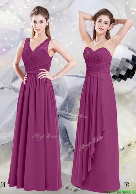 Simple Chiffon Ruched Fuchsia Empire Dama Dress in Floor Length