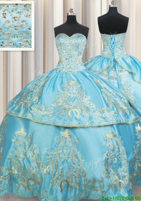 Exclusive Sweetheart Embroideried and Beaded Taffeta Aqua Blue Quinceanera Dress