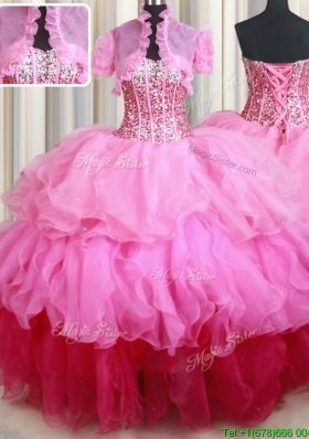 Fashionable Visible Boning Sequined and Ruffled Quinceanera Dress in Gradient Color