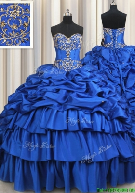 Latest Ruffled Layers Brush Train Royal Blue Quinceanera Dress with Beading and Bubbles