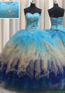 Modern Visible Boning Gradient Color Quinceanera Dress with Beading and Ruffles