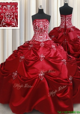 New Arrivals Strapless Beaded and Bubble Taffeta Quinceanera Dress in Wine Red