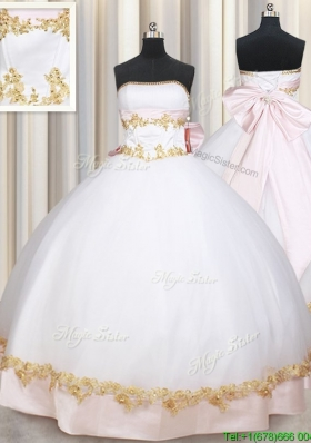 New Style Puffy Skirt Strapless Bowknot and Applique Quinceanera Dress in White