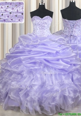 Pretty Ruffled Lavender Long Quinceanera Dresses with Beading and Pick Ups