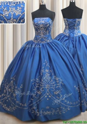 Pretty Strapless Stain Royal Blue Quinceanera Dress with Beading and Embroidery