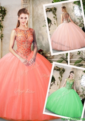 Inexpensive Big Puffy Bateau and Beading Quinceanera Dresses