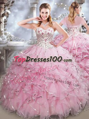Sweet Sweetheart Sleeveless Quinceanera Dress Floor Length Beading and Ruffles Baby Pink Organza