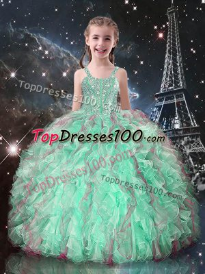 Turquoise Lace Up Straps Beading and Ruffles Girls Pageant Dresses Organza Sleeveless
