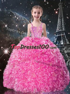 Stunning Organza Sleeveless Floor Length Kids Formal Wear and Beading and Ruffles