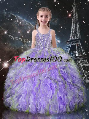 Straps Sleeveless Organza Little Girls Pageant Gowns Beading and Ruffles Lace Up
