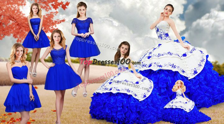 Strapless Sleeveless Sweet 16 Quinceanera Dress Brush Train Embroidery and Ruffles Royal Blue Organza