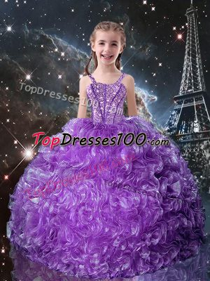 Eggplant Purple Sleeveless Floor Length Beading and Ruffles Lace Up Kids Pageant Dress