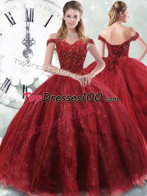 Great Sleeveless Brush Train Lace Up Beading Quinceanera Dress