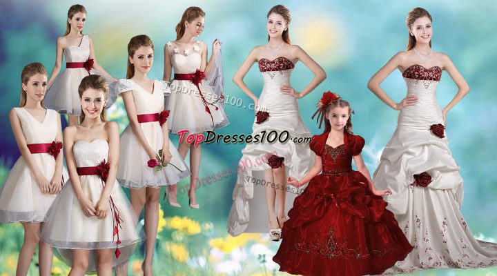White Taffeta Zipper Sweetheart Sleeveless Ball Gown Prom Dress Brush Train Beading and Appliques and Hand Made Flower