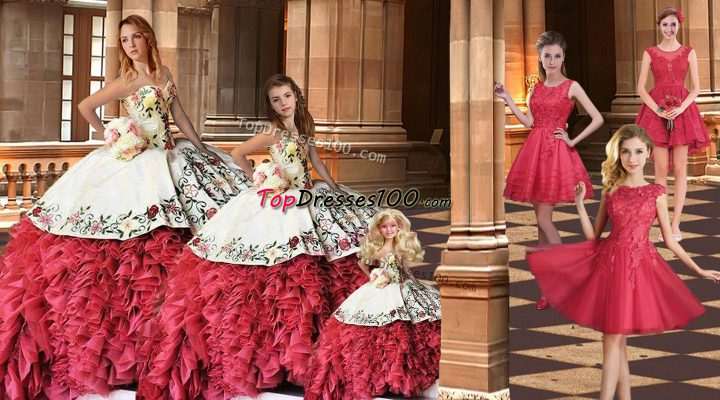 Brush Train Ball Gowns Quinceanera Dress White And Red Sweetheart Taffeta Sleeveless Lace Up
